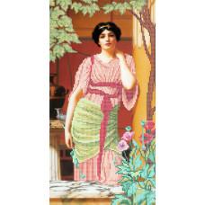 A518 Дама з маками. Ангеліка. Схема на тканині для вишивання бісером