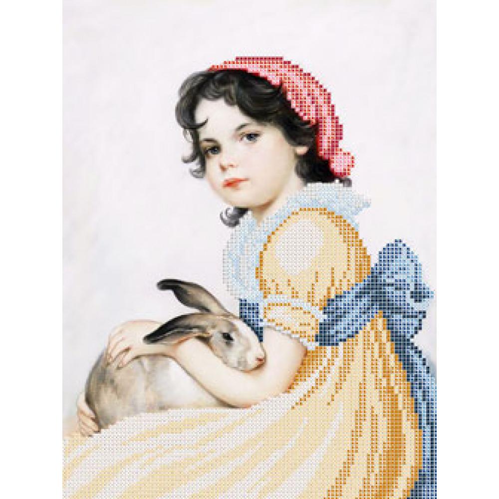 A519 Панянка з кроликом. Ангеліка. Схема на тканині для вишивання бісером