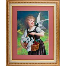 A525 Дівчина і голуби. Ангеліка. Схема на тканині для вишивання бісером