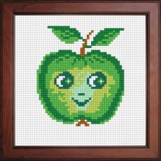 N1104 Зелене яблуко з особою. Orchidea. Набір для вишивання нитками на канві з нанесеним малюнком