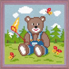 A01 Ведмедик з сачком. Чарівниця. Канва з нанесеним малюнком