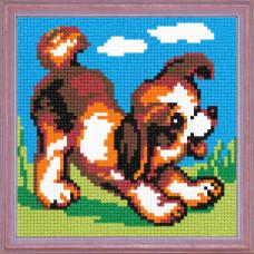 A08 Веселий щеня. Чарівниця. Канва з нанесеним малюнком