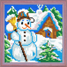 A09 Сніговик. Чарівниця. Канва з нанесеним малюнком