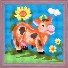 A51 Корова на лузі. Чарівниця. Канва з нанесеним малюнком