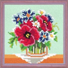 A55 Букет польових квітів. Чарівниця. Канва з нанесеним малюнком