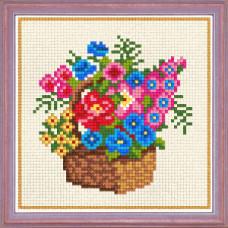 A60 Кошик з квітами. Чарівниця. Канва з нанесеним малюнком