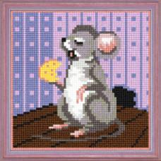 A61 Мишка з сиром. Чарівниця. Канва з нанесеним малюнком