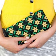 C215 Квіткова мозаїка. Клатч. Набір для вишивання та шиття
