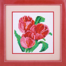 20007 Три тюльпана. Dream Art. Набор алмазной мозаики (круглые камни, полная)