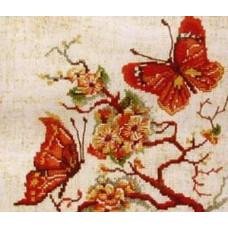 182 Метелики на червоній гілці. Чарівна Мить. Набір для вишивання нитками