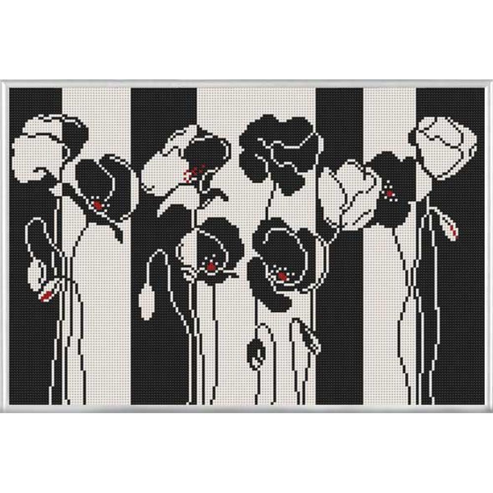БИС3188 Чорно-білі квіти. Нова Слобода. Схема на тканині для вишивання бісером