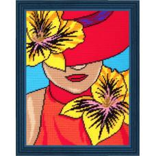 TL31 Дама в шляпе. Quick Tapestry. Набор для вышивания нитками на канве с нанесенным рисунком