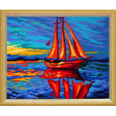TL32 Парусник на закате. Quick Tapestry. Набор для вышивания нитками на канве с нанесенным рисунком