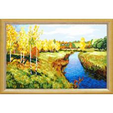 TS39 Золотая осень. И.Левитан. Quick Tapestry. Набор для вышивания нитками на канве с нанесенным ри