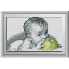 30077 Смакота(малюк з яблуком). Dream Art. Набір алмазної мозаїки (квадратні, повна)