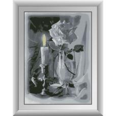 30087 Свічка і троянда. Dream Art. Набір алмазної мозаїки (квадратні, повна)