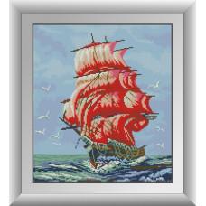 30089 Червоні вітрила. Dream Art. Набір алмазної мозаїки (квадратні, повна)