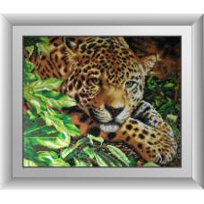 30090 Леопард на відпочинку. Dream Art. Набір алмазної мозаїки (квадратні, повна)