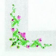 СКС-019 Серветка. Рожеві квіточки. Чарівна Мить. Набір прикрашаємо вишивку стразами
