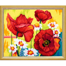 TL34 Маки. Quick Tapestry. Набор для вышивания нитками на канве с нанесенным рисунком