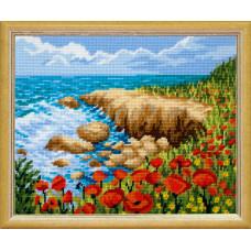 TL36 Морской берег. Quick Tapestry. Набор для вышивания нитками на канве с нанесенным рисунком