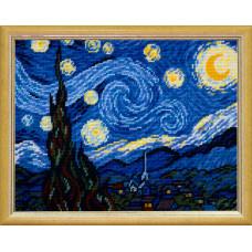 TL40 Звездная ночь. Винсент ван Гог. Quick Tapestry. Набор для вышивания нитками на канве с нанесен