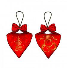 В-015 Пендибуль новорічний червоний. Тела Артіс. Схема для вишивання бісером