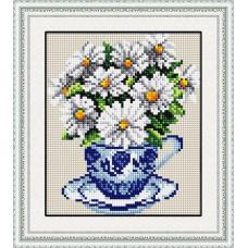 30029 Ромашки в чашці. Dream Art. Набір алмазної мозаїки (квадратні, повна)