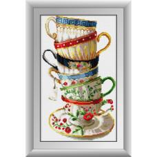 30001 Набор кофейных чашек. Dream Art. Набор алмазной мозаики (квадратные, полная)