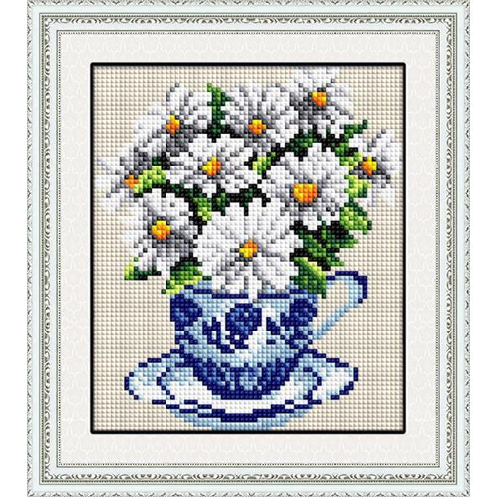 20029 Ромашки в чашці. Dream Art. Набір алмазної мозаїки (круглі камені, повна)