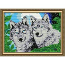 AT3001 Волки лунной ночью. ArtSolo. Набор алмазной живописи