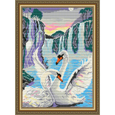 AT3003 Лебеди у водопада. ArtSolo. Набор алмазной живописи