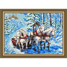 AT3004 Тройка лошадей. ArtSolo. Набор алмазной живописи