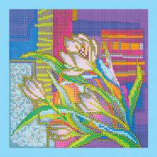 AC-042 Крокуси. Абрис Арт. Схема на полотні для вишивання бісером (АС-042)