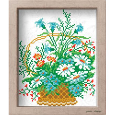 АМ 3510 Кошик польових квітів. Повна скриня. Канва з нанесеним малюнком