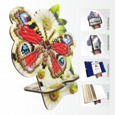 APM-01 Бабочка и Ромашки. Подставка под мобильный телефон. ArtSolo. Набор алмазной живописи