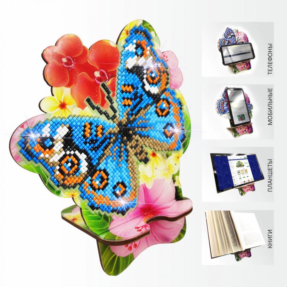 APM-04 Метелик і Орхідея. Підставка під мобільний телефон. ArtSolo. Набір алмазного живопису