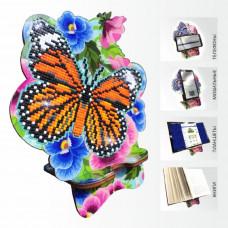 APM-05 Бабочка и Анютыны Глазки. Подставка под мобильный телефон. ArtSolo. Набор алмазной живописи