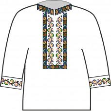 АСД-003Ва Сорочка для хлопчика, 2-6 років (атлас-коттон). Rainbow beads. Заготовка для вишивки нитками або бісером