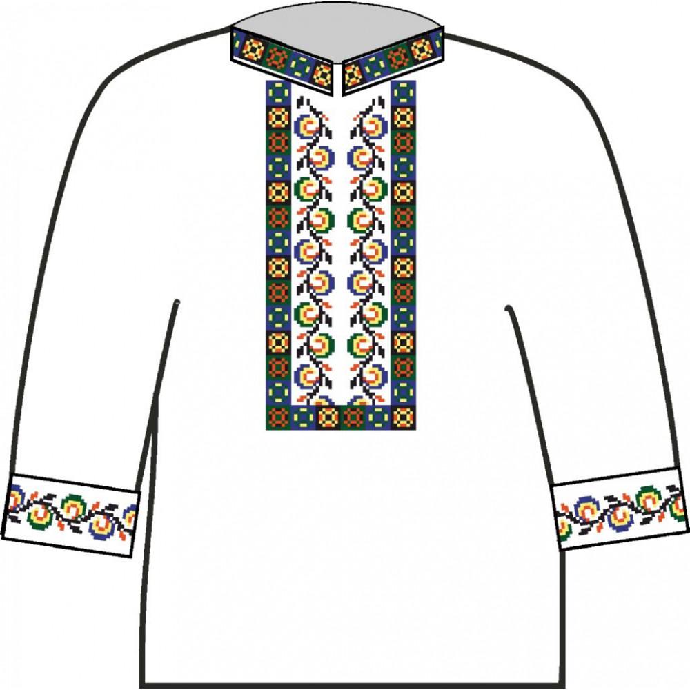 АСД-003Вд Сорочка для хлопчика, 2-6 років (домоткане полотно). Rainbow beads. Заготовка для вишивки нитками або бісером