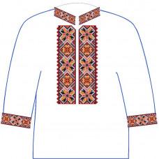 АСД-11Бл Хлопчачий лляна сорочка 6-12 років. Rainbow beads. Заготовка для вишивки нитками або бісером