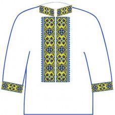 АСД-12Аа Чоловіча сорочка (атлас-коттон). Rainbow beads. Заготовка для вишивки нитками або бісером