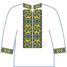 АСД-12Бл Хлопчачий лляна сорочка 6-12 років. Rainbow beads. Заготовка для вишивки нитками або бісером