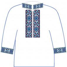 АСД-13Бл Хлопчачий лляна сорочка 6-12 років. Rainbow beads. Заготовка для вишивки нитками або бісером
