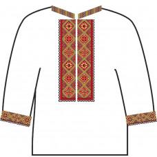 АСД-18Ад Чоловіча сорочка (домоткане полотно). Rainbow beads. Заготовка для вишивки нитками або бісером