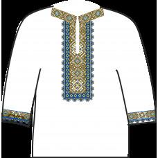 АСД-19Аа Чоловіча сорочка (атлас-коттон). Rainbow beads. Заготовка для вишивки нитками або бісером