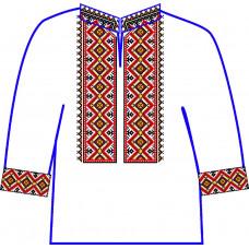 АСД-22Ба Сорочка для хлопчика, 6-12 років (атлас-коттон). Rainbow beads. Заготовка для вишивки нитками або бісером