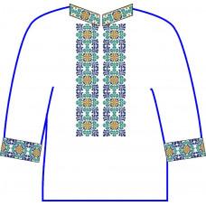 АСД-25Аа Чоловіча сорочка (атлас-коттон). Rainbow beads. Заготовка для вишивки нитками або бісером
