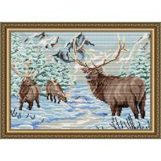 AT3008 Олени в зимнем лесу. ArtSolo. Набор алмазной живописи