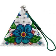 B134 Квіти. Брелок пірамідка. Biscornu. Набір для вишивання нитками
